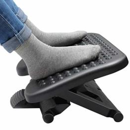 HUANUO Fußstütze 3 Höhen Verstellbar & Winkeleinstellbar, rutschfeste Fußablage mit Massage-Funktion für Büro, Zuhause - 1