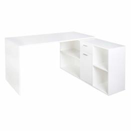 RICOO WM081-WM, Schreibtisch, Holz Hell Matt-Weiß, Winkelkombination, Arbeitstisch, Bürotisch, Computertisch, Eckschreibtisch, Akten Schrank Lowboard - 1