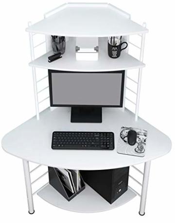 SixBros. Schreibtisch in weiß, eckiger Bürotisch für Büro & Home Office, Eckschreibtisch, 113 x 65 cm B-1010/2076 - 3