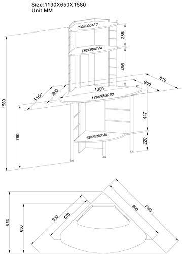 SixBros. Schreibtisch in weiß, eckiger Bürotisch für Büro & Home Office, Eckschreibtisch, 113 x 65 cm B-1010/2076 - 4