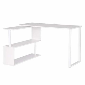 WOLTU® Schreibtisch TS65ws Eckschreibtisch Winkelschreibtisch Winkelkombination Computertisch Bürotisch Arbeitstisch PC Laptop Tisch, mit Ablagen, 120x100x74cm(BxTxH), MDF, Weiß - 3