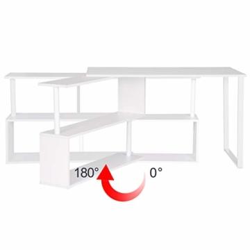 WOLTU® Schreibtisch TS65ws Eckschreibtisch Winkelschreibtisch Winkelkombination Computertisch Bürotisch Arbeitstisch PC Laptop Tisch, mit Ablagen, 120x100x74cm(BxTxH), MDF, Weiß - 4