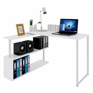 WOLTU® Schreibtisch TS65ws Eckschreibtisch Winkelschreibtisch Winkelkombination Computertisch Bürotisch Arbeitstisch PC Laptop Tisch, mit Ablagen, 120x100x74cm(BxTxH), MDF, Weiß - 1