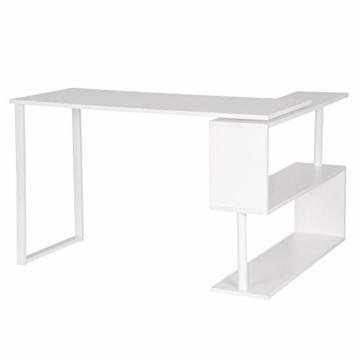 WOLTU® Schreibtisch TS65ws Eckschreibtisch Winkelschreibtisch Winkelkombination Computertisch Bürotisch Arbeitstisch PC Laptop Tisch, mit Ablagen, 120x100x74cm(BxTxH), MDF, Weiß - 6