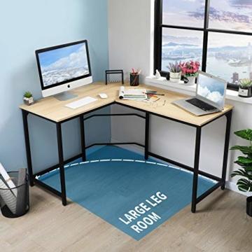 Aingoo Eckschreibtisch Moderne L-förmiger Schreibtisch Ecke Computer Schreibtisch Home Office Studie Workstation Holz & Stahl PC Laptop-Spieltisch (Beige) - 2