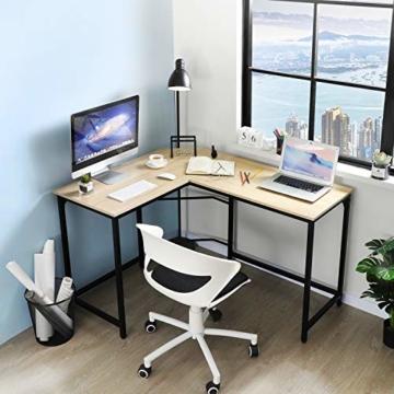 Aingoo Eckschreibtisch Moderne L-förmiger Schreibtisch Ecke Computer Schreibtisch Home Office Studie Workstation Holz & Stahl PC Laptop-Spieltisch (Beige) - 4
