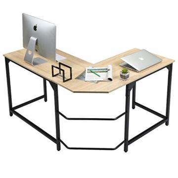 Aingoo Eckschreibtisch Moderne L-förmiger Schreibtisch Ecke Computer Schreibtisch Home Office Studie Workstation Holz & Stahl PC Laptop-Spieltisch (Beige) - 1