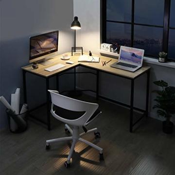 Aingoo Eckschreibtisch Moderne L-förmiger Schreibtisch Ecke Computer Schreibtisch Home Office Studie Workstation Holz & Stahl PC Laptop-Spieltisch (Beige) - 6