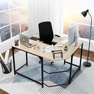 Aingoo Eckschreibtisch Moderne L-förmiger Schreibtisch Ecke Computer Schreibtisch Home Office Studie Workstation Holz & Stahl PC Laptop-Spieltisch (Beige) - 7