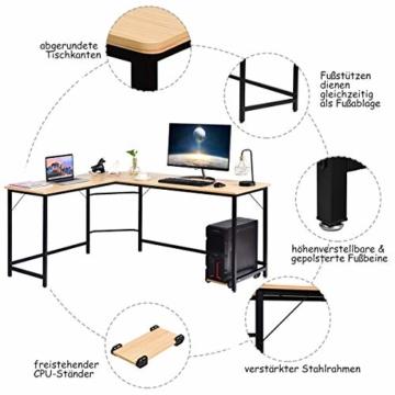 COSTWAY Computertisch L-Form, Eckschreibtisch, Schreibtisch PC-Tisch Computerschreibtisch Bürotisch Ecktisch Winkelschreibtisch, Farbwahl (Natur) - 3