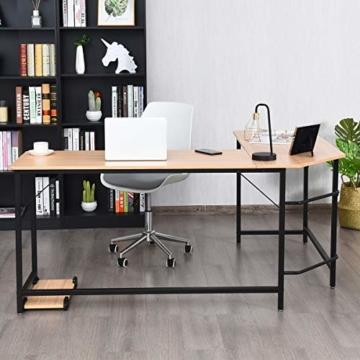 COSTWAY Computertisch L-Form, Eckschreibtisch, Schreibtisch PC-Tisch Computerschreibtisch Bürotisch Ecktisch Winkelschreibtisch, Farbwahl (Natur) - 4