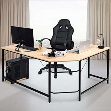 COSTWAY Computertisch L-Form, Eckschreibtisch, Schreibtisch PC-Tisch Computerschreibtisch Bürotisch Ecktisch Winkelschreibtisch, Farbwahl (Natur) - 6