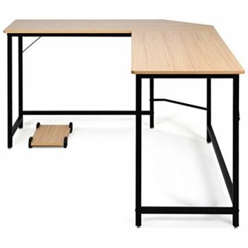 COSTWAY Computertisch L-Form, Eckschreibtisch, Schreibtisch PC-Tisch Computerschreibtisch Bürotisch Ecktisch Winkelschreibtisch, Farbwahl (Natur) - 7