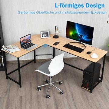 COSTWAY Computertisch L-Form, Eckschreibtisch, Schreibtisch PC-Tisch Computerschreibtisch Bürotisch Ecktisch Winkelschreibtisch, Farbwahl (Natur) - 8
