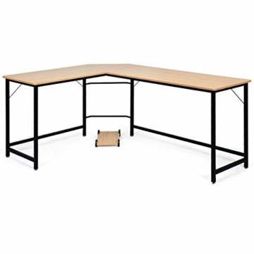 COSTWAY Computertisch L-Form, Eckschreibtisch, Schreibtisch PC-Tisch Computerschreibtisch Bürotisch Ecktisch Winkelschreibtisch, Farbwahl (Natur) - 9
