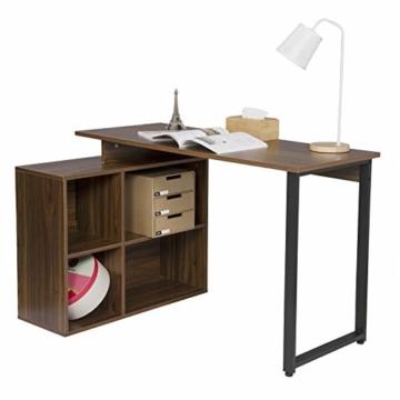 EUGAD 0079ZZ Schreibtische Computertisch PC-Tisch Bürotisch Arbeitstisch mit Ablagen Holz Dunkelbuche 116x75x80cm - 2
