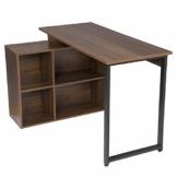 EUGAD 0079ZZ Schreibtische Computertisch PC-Tisch Bürotisch Arbeitstisch mit Ablagen Holz Dunkelbuche 116x75x80cm - 1
