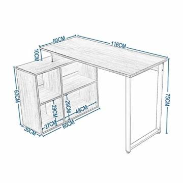 EUGAD 0079ZZ Schreibtische Computertisch PC-Tisch Bürotisch Arbeitstisch mit Ablagen Holz Dunkelbuche 116x75x80cm - 5