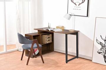 EUGAD 0079ZZ Schreibtische Computertisch PC-Tisch Bürotisch Arbeitstisch mit Ablagen Holz Dunkelbuche 116x75x80cm - 6