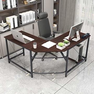 soges Eckschreibtisch L-Form Computertisch Winkelschreibtisch großer Gaming Schreibtisch Bürotisch Ecktisch Arbeitstisch PC Laptop Studie Tisch,150 cm + 150 cm,Walnuss - 2