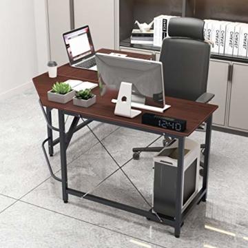 soges Eckschreibtisch L-Form Computertisch Winkelschreibtisch großer Gaming Schreibtisch Bürotisch Ecktisch Arbeitstisch PC Laptop Studie Tisch,150 cm + 150 cm,Walnuss - 4