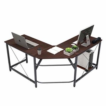soges Eckschreibtisch L-Form Computertisch Winkelschreibtisch großer Gaming Schreibtisch Bürotisch Ecktisch Arbeitstisch PC Laptop Studie Tisch,150 cm + 150 cm,Walnuss - 1