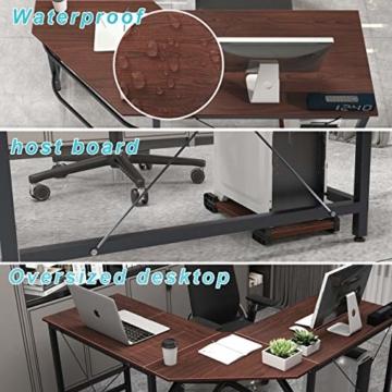 soges Eckschreibtisch L-Form Computertisch Winkelschreibtisch großer Gaming Schreibtisch Bürotisch Ecktisch Arbeitstisch PC Laptop Studie Tisch,150 cm + 150 cm,Walnuss - 5