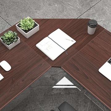 soges Eckschreibtisch L-Form Computertisch Winkelschreibtisch großer Gaming Schreibtisch Bürotisch Ecktisch Arbeitstisch PC Laptop Studie Tisch,150 cm + 150 cm,Walnuss - 7