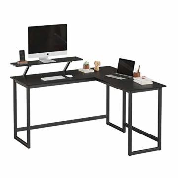 VASAGLE Schreibtisch, L-förmiger Computertisch mit beweglichem Monitoraufsatz, Eckschreibtisch, Büro, Arbeitszimmer, Gaming, platzsparend, einfache Montage, Metall, schwarz LWD56BK - 2