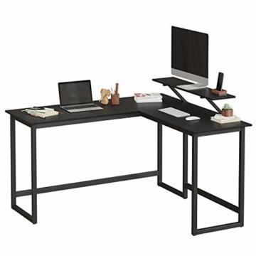 VASAGLE Schreibtisch, L-förmiger Computertisch mit beweglichem Monitoraufsatz, Eckschreibtisch, Büro, Arbeitszimmer, Gaming, platzsparend, einfache Montage, Metall, schwarz LWD56BK - 3