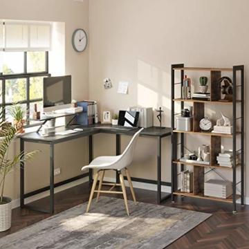 VASAGLE Schreibtisch, L-förmiger Computertisch mit beweglichem Monitoraufsatz, Eckschreibtisch, Büro, Arbeitszimmer, Gaming, platzsparend, einfache Montage, Metall, schwarz LWD56BK - 4