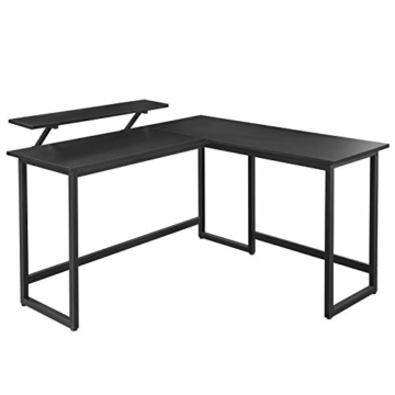 VASAGLE Schreibtisch, L-förmiger Computertisch mit beweglichem Monitoraufsatz, Eckschreibtisch, Büro, Arbeitszimmer, Gaming, platzsparend, einfache Montage, Metall, schwarz LWD56BK - 1