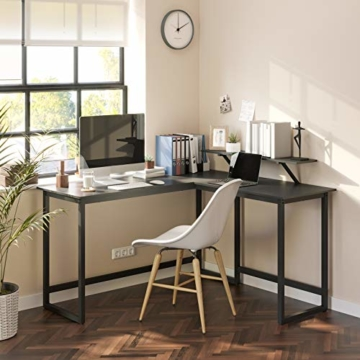 VASAGLE Schreibtisch, L-förmiger Computertisch mit beweglichem Monitoraufsatz, Eckschreibtisch, Büro, Arbeitszimmer, Gaming, platzsparend, einfache Montage, Metall, schwarz LWD56BK - 5
