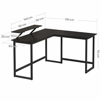 VASAGLE Schreibtisch, L-förmiger Computertisch mit beweglichem Monitoraufsatz, Eckschreibtisch, Büro, Arbeitszimmer, Gaming, platzsparend, einfache Montage, Metall, schwarz LWD56BK - 6