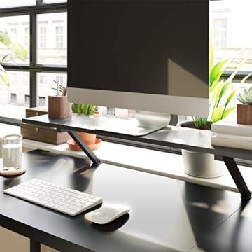 VASAGLE Schreibtisch, L-förmiger Computertisch mit beweglichem Monitoraufsatz, Eckschreibtisch, Büro, Arbeitszimmer, Gaming, platzsparend, einfache Montage, Metall, schwarz LWD56BK - 7