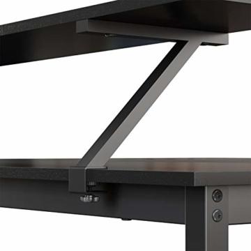 VASAGLE Schreibtisch, L-förmiger Computertisch mit beweglichem Monitoraufsatz, Eckschreibtisch, Büro, Arbeitszimmer, Gaming, platzsparend, einfache Montage, Metall, schwarz LWD56BK - 8