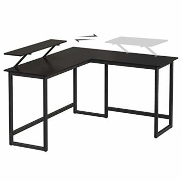 VASAGLE Schreibtisch, L-förmiger Computertisch mit beweglichem Monitoraufsatz, Eckschreibtisch, Büro, Arbeitszimmer, Gaming, platzsparend, einfache Montage, Metall, schwarz LWD56BK - 9