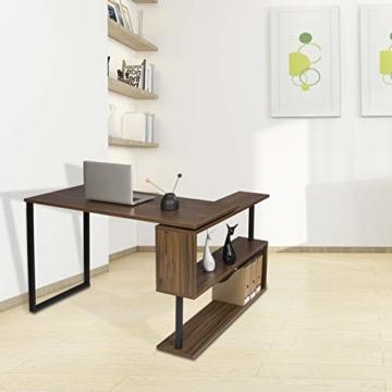 WOLTU® Schreibtisch TS65dc Eckschreibtisch Winkelschreibtisch Winkelkombination Computertisch Bürotisch Arbeitstisch PC Laptop Tisch, mit Ablagen, 120x100x74cm(BxTxH), MDF, Dunkelbuche - 2