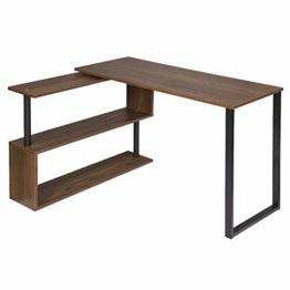 WOLTU® Schreibtisch TS65dc Eckschreibtisch Winkelschreibtisch Winkelkombination Computertisch Bürotisch Arbeitstisch PC Laptop Tisch, mit Ablagen, 120x100x74cm(BxTxH), MDF, Dunkelbuche - 1