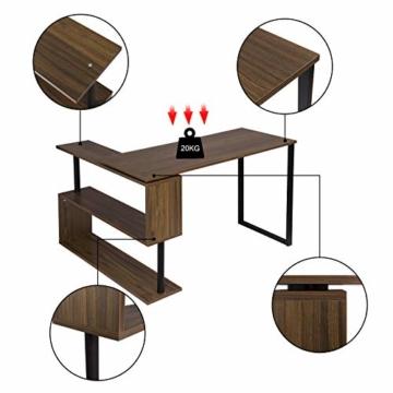 WOLTU® Schreibtisch TS65dc Eckschreibtisch Winkelschreibtisch Winkelkombination Computertisch Bürotisch Arbeitstisch PC Laptop Tisch, mit Ablagen, 120x100x74cm(BxTxH), MDF, Dunkelbuche - 4
