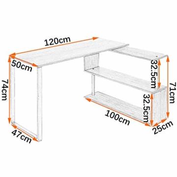 WOLTU® Schreibtisch TS65dc Eckschreibtisch Winkelschreibtisch Winkelkombination Computertisch Bürotisch Arbeitstisch PC Laptop Tisch, mit Ablagen, 120x100x74cm(BxTxH), MDF, Dunkelbuche - 6