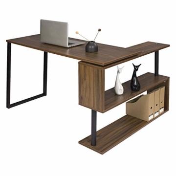 WOLTU® Schreibtisch TS65dc Eckschreibtisch Winkelschreibtisch Winkelkombination Computertisch Bürotisch Arbeitstisch PC Laptop Tisch, mit Ablagen, 120x100x74cm(BxTxH), MDF, Dunkelbuche - 7
