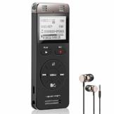 Digitales Diktiergerät, YEMENREN 8GB Digitaler Voice Recorder, Audio Aufnahmegerät mit Spracherkennung für Interviews Meetings, USB, Wiederaufladbar(Schwarz) - 1