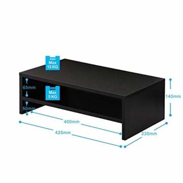 FITUEYES Monitorständer Bildschirmständer aus Holz für Monitor/Laptop/Fernseher 42,5x23,5x14cm Schwarz DT204201WB - 2