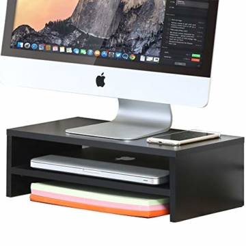 FITUEYES Monitorständer Bildschirmständer aus Holz für Monitor/Laptop/Fernseher 42,5x23,5x14cm Schwarz DT204201WB - 4
