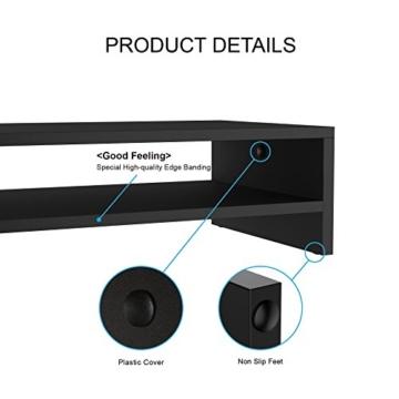 FITUEYES Monitorständer Bildschirmständer aus Holz für Monitor/Laptop/Fernseher 42,5x23,5x14cm Schwarz DT204201WB - 5