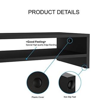 FITUEYES Monitorständer Bildschirmständer aus Holz für Monitor/Laptop/Fernseher 42,5x23,5x14cm Schwarz DT204201WB - 7