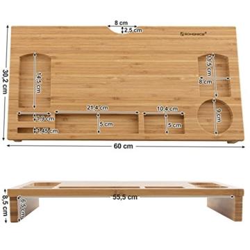 SONGMICS Monitorständer aus Bambus, PC-Ständer, Bildschirmerhöhung, für Computer, Laptop, Schreibtisch-Organizer, 60 x 30,2 x 8,5 cm, Natur LLD201 - 2