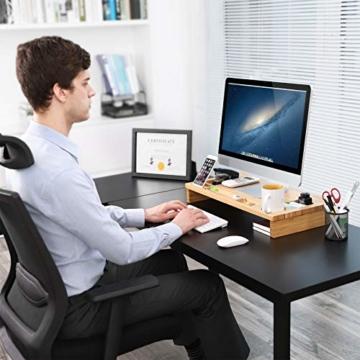 SONGMICS Monitorständer aus Bambus, PC-Ständer, Bildschirmerhöhung, für Computer, Laptop, Schreibtisch-Organizer, 60 x 30,2 x 8,5 cm, Natur LLD201 - 3