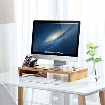 SONGMICS Monitorständer aus Bambus, PC-Ständer, Bildschirmerhöhung, für Computer, Laptop, Schreibtisch-Organizer, 60 x 30,2 x 8,5 cm, Natur LLD201 - 4